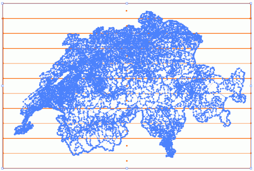 Bitmap strips (detoured in orange) and vector polygon layer (in blue)