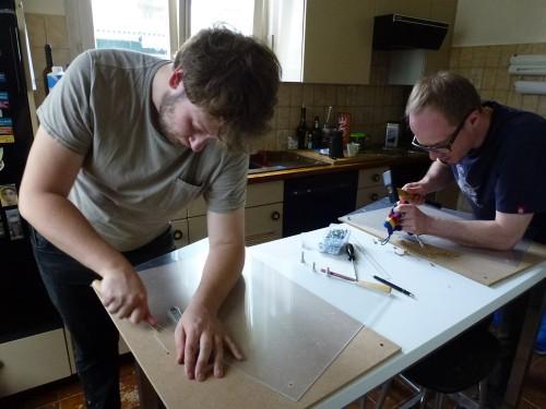 Préparation des panneaux du Wikitractatus (Alexandre Grandjean et André Ourednik)