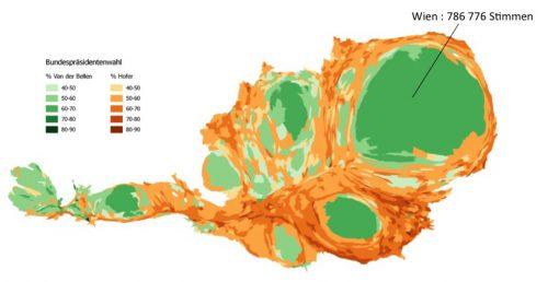 Austria Bundespräsidentenwahl 3D map - Vienna population