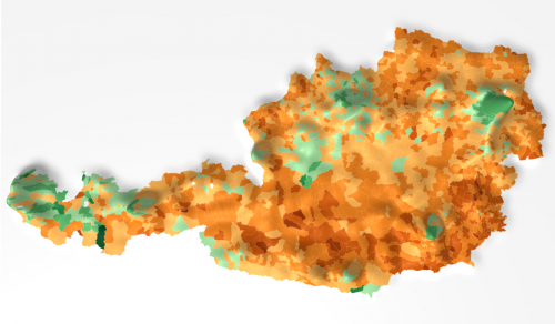 Austria Bundespräsidentenwahl 3D map - Vienna population topview