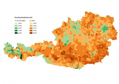 Austria Bundespräsidentenwahl 2016 3D map