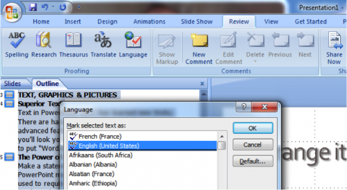 Setting language in PowerPoint 2