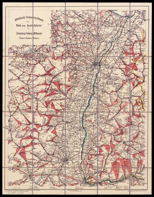 Mittelbach's Strassenprofilkarte für Rad- und Autofahrer von Strassburg-Freiburg-Mülhausen 1:300.000 ~ 1910