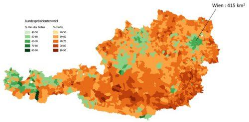 Austria Bundespräsidentenwahl 3D map - Vienna area