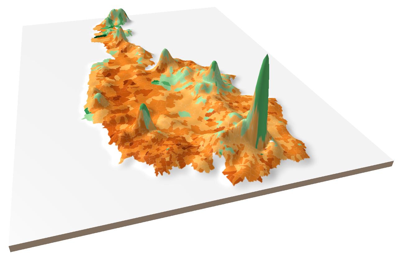 Austria Bundespräsidentenwahl 3D map