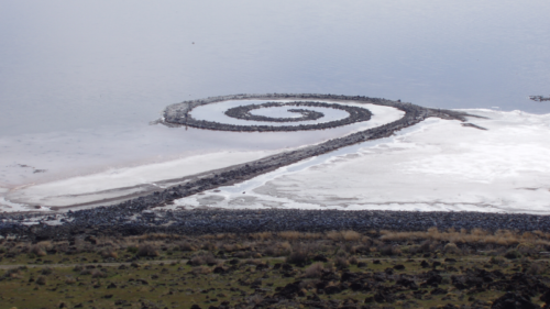 Spiral Jetty from atop Rozel Point, in mid-April 2005.